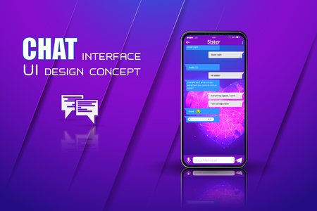 Clean Mobile UI Design Concept. Trendy Chatbot Application with Dialogue window. Standard-Bild - 120440306
