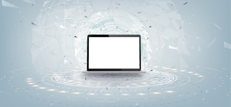 Realistic white laptop mockup with futuristic technology concept,laptop abstract background, Standard-Bild - 120440353