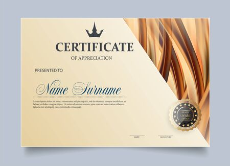 Certificate of Appreciation template. Classical style. Luxury and Modern style. Çizim