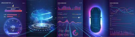 Holograma del coche, escaneado. Interfaz de usuario táctil gráfica virtual abstracta. Servicio de coche al estilo de HUD. Vehículo sin conductor. HUD (pantalla de visualización frontal). GUI (interfaz gráfica de usuario).