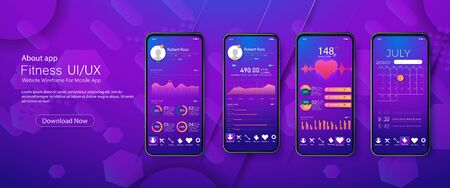 Clean Mobile UI Design Concept. Trendy fitness Application with Dialogue window.Mobile app infographic template with modern design weekly and annual statistics graphs. Illusztráció