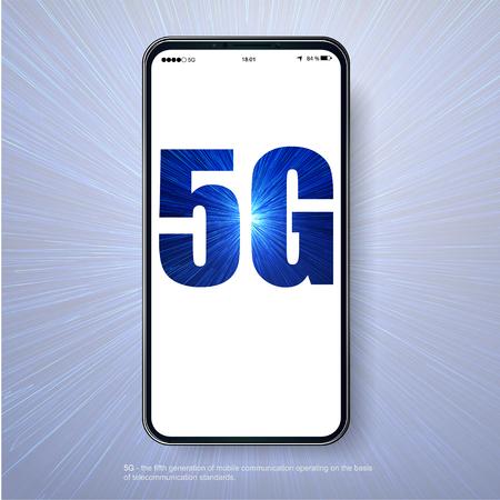 5G network wireless technology vector illustration. Wireless mobile telecommunication service concept. Marketing website landing template. Smartphone internet speed connection Standard-Bild - 123559207