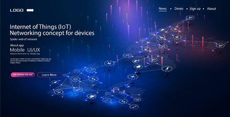 Internet des objets (IoT) et concept de mise en réseau pour les appareils connectés. Toile d'araignée de connexions réseau avec sur un bleu futuriste