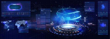 Futuristic car user interface. HUD UI. Hologram of the car, scanning. Future abstract virtual graphic touch user interface. Car service in the style of HUD UX GUI.Virtual graphical interface.