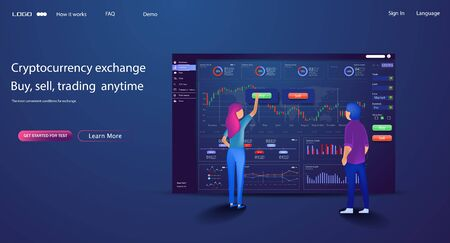 Vector web site trade design template. Finance charts and diagrams. Modern flat design concept of Data Analysis for website and mobile website. Landing page