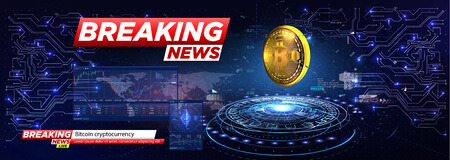 Breaking news a cryptocurrency, bitcoin in HUD style. Icon of Bitcoin. Realistic Bitcoin coin on the blue background of the electrical circuit. Modern cryptocurrency. Abstract technology Standard-Bild - 120440406