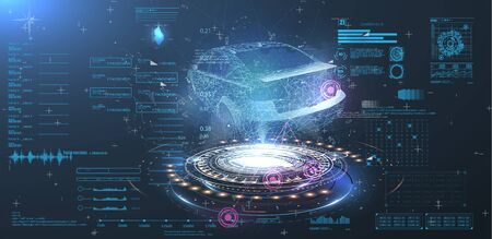 Futuristic car user interface. HUD UI. Hologram of the car, scanning. Abstract virtual graphic touch user interface. Car service in the style of HUD. Virtual graphical interface. Vektorové ilustrace