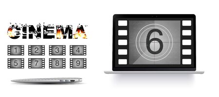 Movie countdown numbers on the laptop screen. Burning text cinema. Movie countdown numbers vector set. The countdown to the start of the