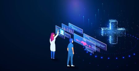 Doctor  Examining Digital DASHBOARD Medical Clinics Worker Hospital isometric. Online diagnosis concept banner with characters. Can use for web banner