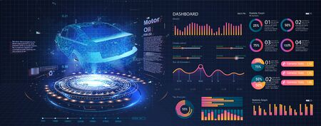 Hologram of the car, scanning. Abstract virtual graphic touch user interface. Car service in the style of HUD. Driverless vehicle. HUD(Head up display). GUI(Graphical User Interface