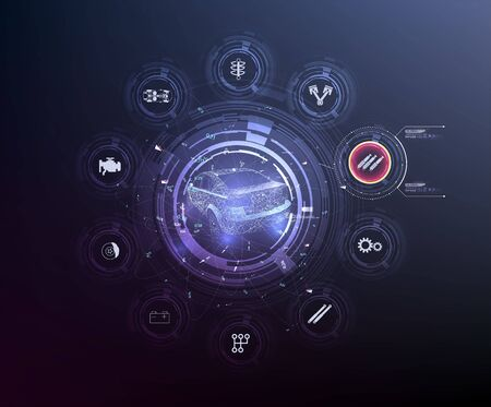 HUD UI. Abstract virtual graphic touch user interface. Car service in the style of HUD .hologram of the car. Car projection. Hardware Diagnostics Condition of Car.