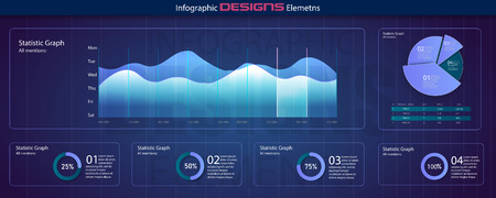 Infographic dashboard. Ui interface, information panel with finance graphs, pie chart and comparison diagrams. Minimalistic infographic template with flat design daily statistics graphs. Vector Standard-Bild - 123992155