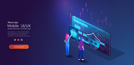 Mobile data security isometric.Online payment protection system concept with smartphone and credit card. Data protection concept.Credit card check and software.Girl scans fingerprint,enters a password Standard-Bild - 123992156