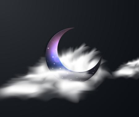 Ramadan Kareem greeting with crescent moon. Night sky background with half moon. Moonlight night Standard-Bild - 123992158