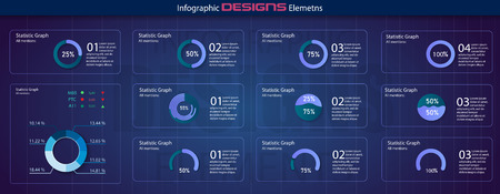 Modern set of circle percentage diagrams. Infographic diagram vector interface. Minimalistic infographic template with flat design daily statistics graphs. diagrams, statistics graphs. Vector Standard-Bild - 123992159