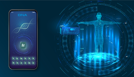 Futuristic medical health concept with human body and DNA molecule structure. head up display (HUD) UI for medical app, futuristic medical HUD interface. Vector Standard-Bild - 123992161