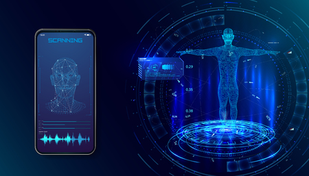 Robot. Biometric identification or Facial recognition system concept. concept of biometric technology, digital Face Scanning, human head combined with electronic board, Vector