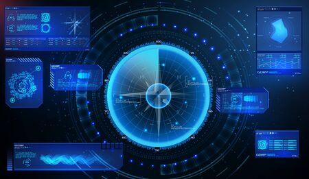 Futuristic radar. Military navigate sonar.Futuristic concept HUD, GUI style. Screen ( Dashboard, Futuristic Circle, Space Elements, Infographics) Radar Screen and