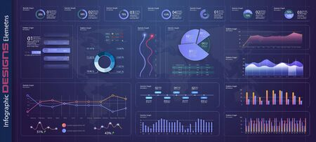Infografik-Dashboard-Vorlage mit flachen Designdiagrammen und Tortendiagrammen Online-Statistiken und Datenanalysen. Informationsgrafikelemente für das UI-UX-Design. Webelemente im modernen Stil. Stock Vektor