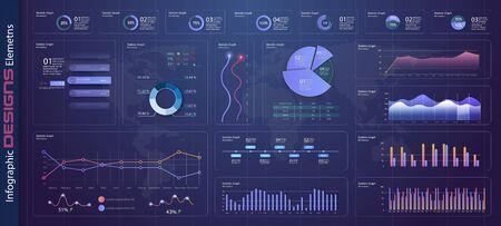 Modello di dashboard infografica con grafici di design piatto e grafici a torta Statistiche online e analisi dei dati. Elementi grafici informativi per la progettazione dell'interfaccia utente UX. Elementi web in stile moderno. Vettore di stock