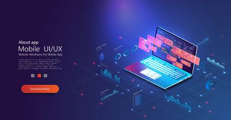 Online statistics and data Analytics.Digital money market, investment, finance and trading. Perfect for web design, banner and presentation Illustration
