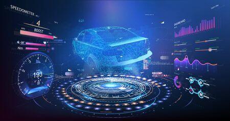 Style de voiture hologramme dans l'interface utilisateur graphique HUD. Diagnostic matériel État de la voiture, numérisation. Interface utilisateur d'infographie sur les voitures, analyse et diagnostic dans le style hud, interface utilisateur futuriste