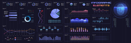 Modern intelligent infographic diagram trends interface.A set of panel interfaces with color charts, graphs, on a dark background. Web design vector graphic templates and infographics. Vector