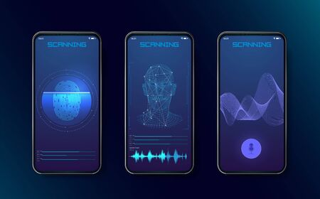 Biometric fingerprint scanners, face recognition and voice recognition for authorization verification with futuristic identification interface. Technology Smart Phone Scanning.Set HUD Elements. Vector Illusztráció