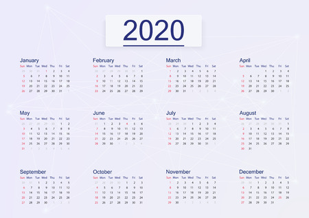 Calendar 2020 isolated on pink background. Vector Standard-Bild - 123992163