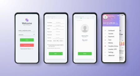 App UI Kit for responsive mobile app or website with different GUI layout including Login, Create Account, Profile, Transaction and Notification Vettoriali