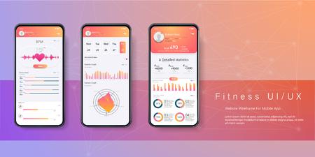 Diferentes UI, UX, GUI pantallas de aplicaciones de fitness e iconos web planos para aplicaciones móviles. Aplicación de teléfono inteligente de salud y fitness con barra de tareas y contador de pasos