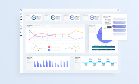 Data Infographic Application UI UX. Modern intelligent infographic diagram vector interface. Vector illustration