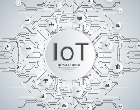 Internet of things (IoT) network concept for connected smart devices. Spider web of network connections icons in white Standard-Bild - 123559030