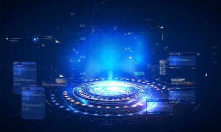 Holograma futurista, diseño para su diseño de estilo de interfaz de usuario GUI de HUD. Interfaz de usuario de ciencia ficción futurista de nuestro futuro. Vector