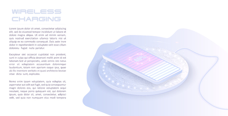 Wireless charging of the smartphone battery. Future concept. The progress of charging the battery of the phone.Wireless charging technology concept on pink background Standard-Bild - 123992169