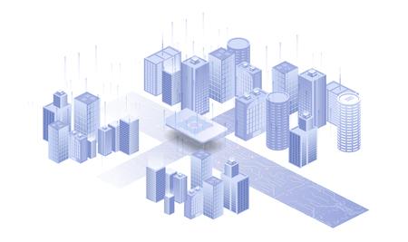 Building on white background. Network sim icon. Isolated illustration white background. Embedded SIM concept. Vector Standard-Bild - 123558934