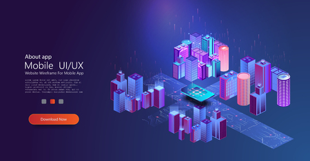 Smart city concept. Isometric modern urban landscape. Futuristic- digital technology concept. Isolated vector illustration. Future science concept.Connection and communication Standard-Bild - 123992170