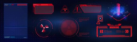 Blue  and red futuristic frame in modern HUD  style background.Abstract technology communication design innovation concept background.Vector abstract graphic design.Warning frame. Abstract tech design Banco de Imagens - 132230867