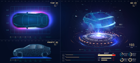 Future car in abstract style on blue background. Futuristic vector HUD GUI UI interface screen design. Automotive technology concept. Hologram of the car, scanning, auto service, mechanisms, service. Standard-Bild - 123992173
