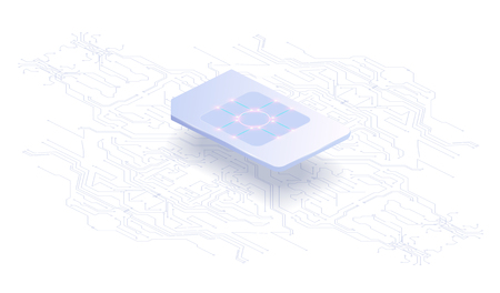 Abstract banner Embedded SIM concept. New mobile communication technology and processor background circuit board Global communication network concept. vector illustration