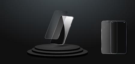 Screenprotector Glas. Vectorillustratie van transparant gehard glazen schild voor mobiele telefoon. De mobiele telefoon zweeft in de lucht. De telefoon op het podium.