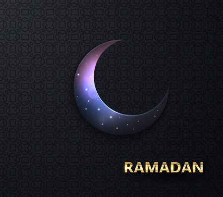 Ramadan vector background. Night view of starry sky bright moon, light half a month. Design greeting card, banner, poster. Traditional Islamic holy holiday Ilustração