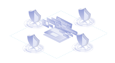 Isometric Protection network security and safe your data concept. Information communication network. Technology shield icon.Big data digital background.  Graphic background communication. Standard-Bild - 120440551
