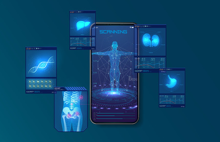 Scanning liver, lungs and skeleton scans a person with a mobile phone. Modern illustration for medical design.Health care. Futuristic interface. Display set of virtual interface elements. Vector