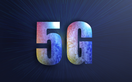 Poster 5g Internet Connection. Creative vector illustration of 5G signal transmission technology, new wireless internet wifi connection background Standard-Bild - 120440578