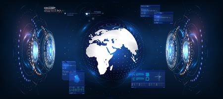 Futuristic Earth in style HUD, great design for any purposes. Vector globe. Blue background. Computer technology background. Interface with Earth globe 3d in control center  Vector illustration gui.