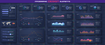 Infographic dashboard template with flat design graphs and pie charts Online statistics and data Analytics. Information Graphics elements for UI UX design. Modern style web elements. Stock vector Standard-Bild - 120440428