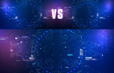 Icon with vs on blue background for futuristic design. HUD for wallpaper design. Vector illustration bright design. Data technology abstract futuristic illustration. Standard-Bild - 123992189