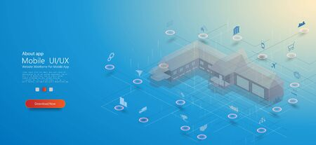 Smart Home, great design for any purposes. Smart home with internet of things isometric concept. Smart city technology. Computer internet security concept. Vector connection concept. Modern vector.
