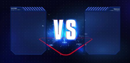 VS Versus Blue and red Futuristic design. Battle headline template. Futuristic abstract technology background. Vector